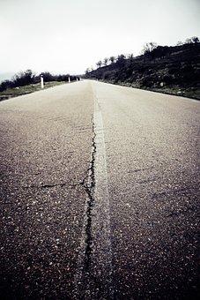 Road, Away, Mark, Landscape, Asphalt, Just, Long Gone