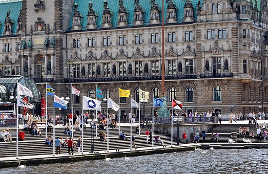 Hamburg, Town Hall, Crowd, Flags, Stairs, Gradually