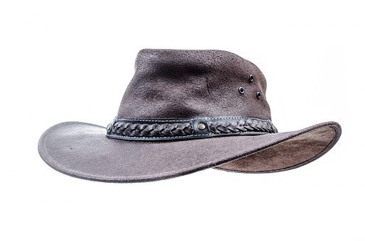 Hat, Cowboy, White, Brown, Leather, Close-up, Isolated