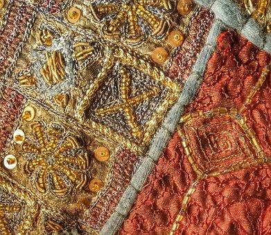 Texture, Textile, Beading, Fabric, Beads, Handmade