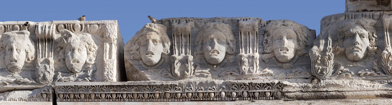 Frieze, Jellyfishes, Heads, Antiquity, Temple, Ruin