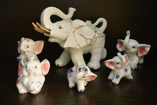 Elephant, Elephants, Slonyata, Porcelain