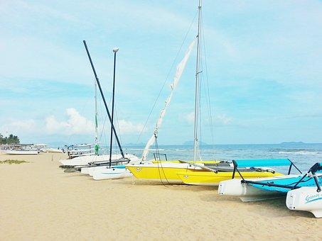 Sanya, Marine, Blue Sky, Ship, Parking Finish, Beach