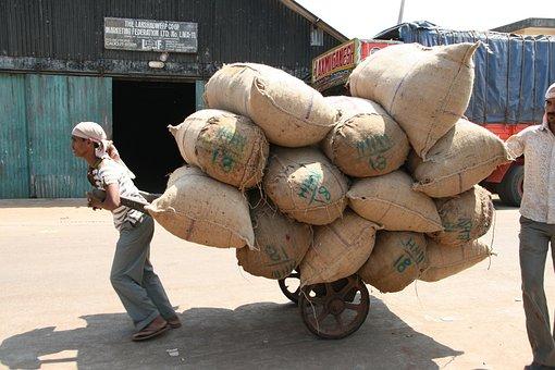 Hard Labour, Sacks, Transportation, India, Sack Barrow