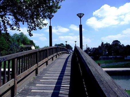 Bridge, Streetlights, Wooden Bridge, France, Sky