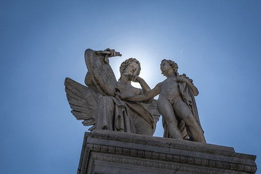 Halo, Sculpture, Angel, Boy, Old, Marble, Exterior