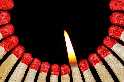 Match, Flame, Lighter, Matches, Sticks, Match Head