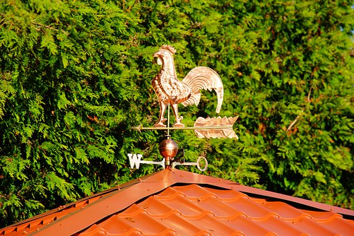 Home, Roof, Weather Vane, Wind Direction Indicator, Red