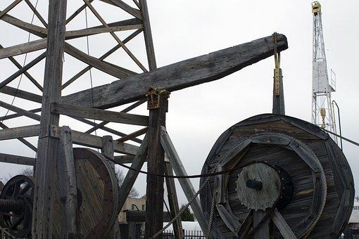 Oil Field, Equipment, Drilling, Wood, Oil, Petroleum