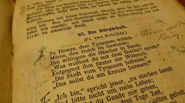 Book, Poem, Old Book, Friedrich Schiller, Notes