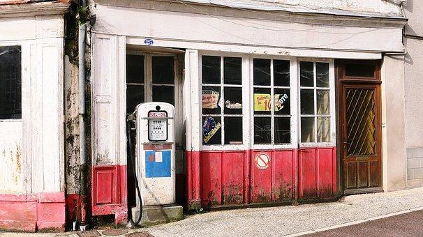 Oil Pump, Fuel, Village, Nièvre, Lormes, Burgundy