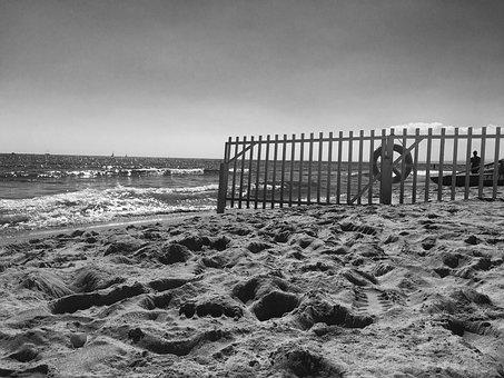 Sea, Beach, Flag, Picket Fence, Black And White
