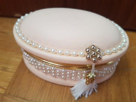 Box, Pink, Jewelry, Vintage, Antique, Old, Small