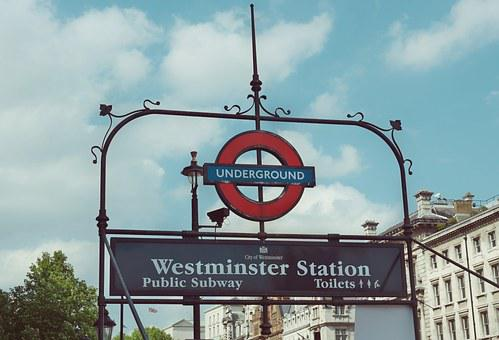 Metro, Sign, London, Station, Westminster