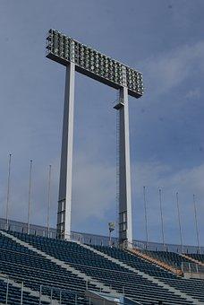 Stadium, Flood Light, Empty, Football, Spotlight