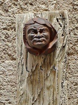 Art, Head, Portrait, Metal, Cast, Face, Wooden Board