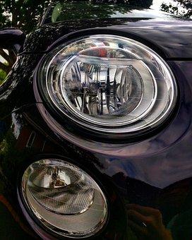 Fiat, Fiat 500, Car, Headlights, Reflection, Italian