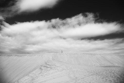 Dunes, Desert, Black And White, Infinity, Landscape