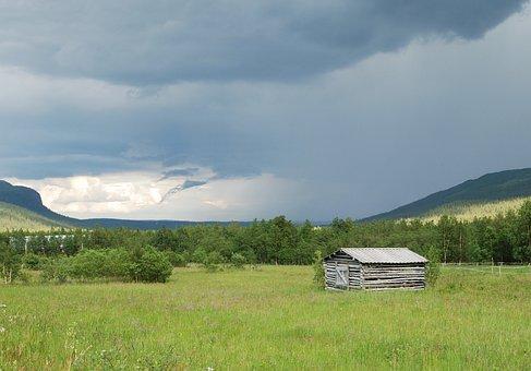 Kittelfjäll, Mountain, Thundercloud, Bed, Barn