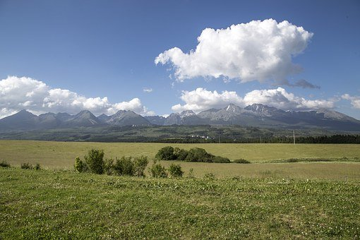 Mountains, Clouds, Sky, Blue, Nature, Field, Meadow