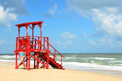 Empty, Life Guard, Stand, Red, Beach, Sand, Guard, Sea