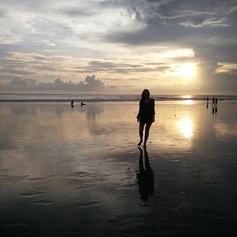 Girl, Horizon, Beach, Sunset, Silhouette, Sunshine