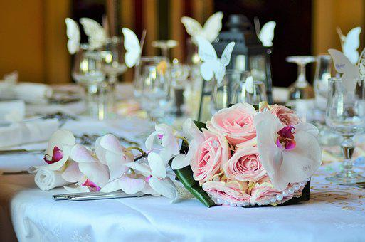 Bouquet, Wedding Bouquet, Table, Table Wedding, Cutlery