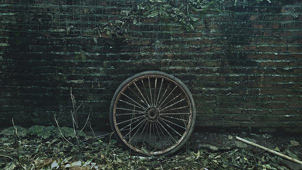 Defoliation, Tire, Brick Wall, Heel, Country, Wall, Old