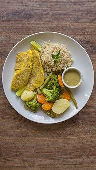 Healthy Food, Fish, Breaded, Broccoli, Rice, Integral