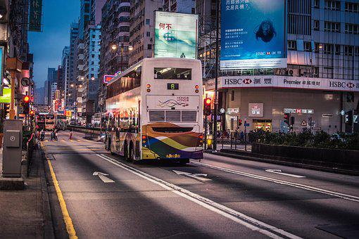 Hong Kong, Street Photography, Night View, Bus