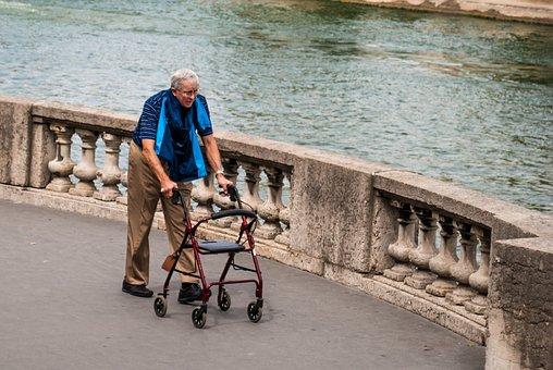 Paris, Seine River, Man, Elderly, Hiker