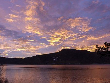 Canim Lake, Sun Rise, Clouds, Water, Hills, Reflection