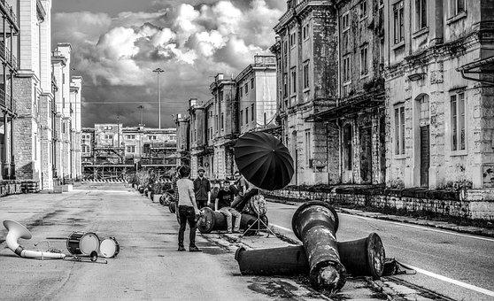 Porto, Old, Trieste, Italy, White, Black And White