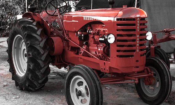 Tractor, Old, Renovated, Machinery, Vehicle, Red