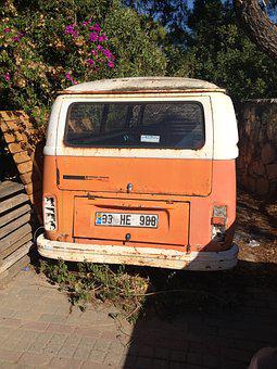 Vw Bus, Orange, Old, Volkswagen, Hippie