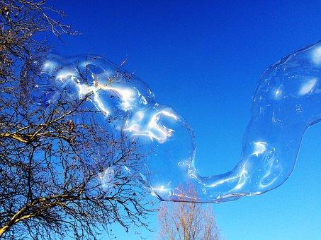 Soap Bubble, Huge, Colorful, Large, Wabbelig