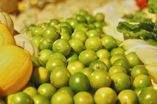 Greengrocers, Fruit, Limes, Green, Melon, Shop, Market