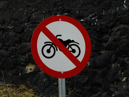 No Motorcycles, Traffic Sign, Prohibition Sign