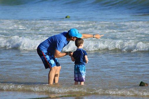 Parents And Children, Curiosity, Explanation, Beach