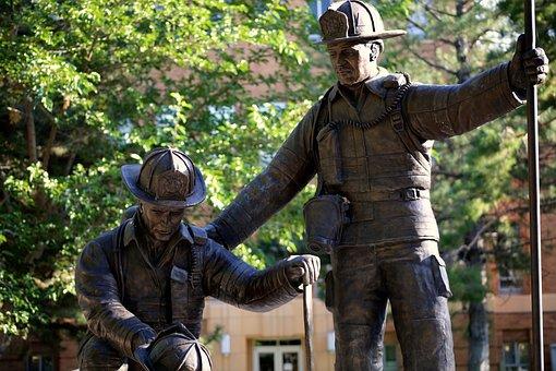 Fireman, Statue, Rescue, Figures, Man, Figure, Concept