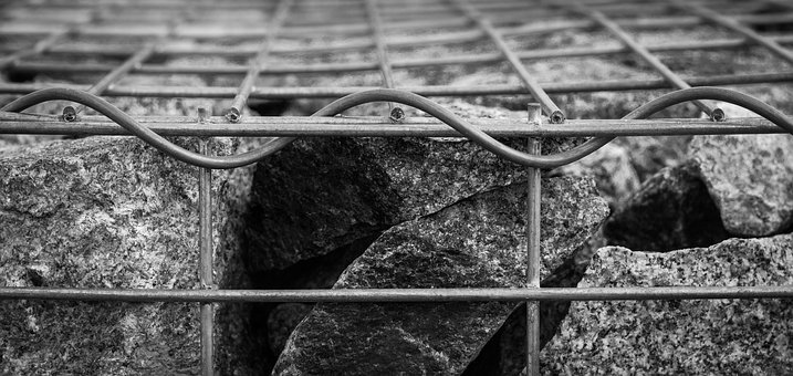 Cage, Stones, Grid, Black And White, Atmosphere