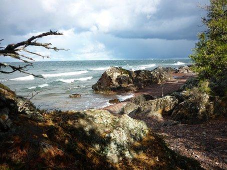 Lake Superior, Stormy, Lake, Great, Michigan, Shore
