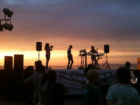 Band, Musicians, Stage, Beach, Concert, Performance