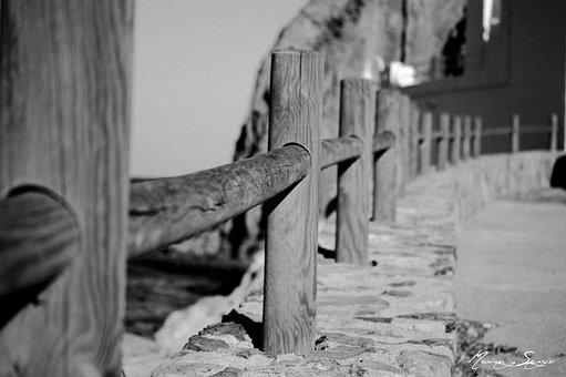 Sea, Beach, Wood, Spain, Fence, Path, Stone