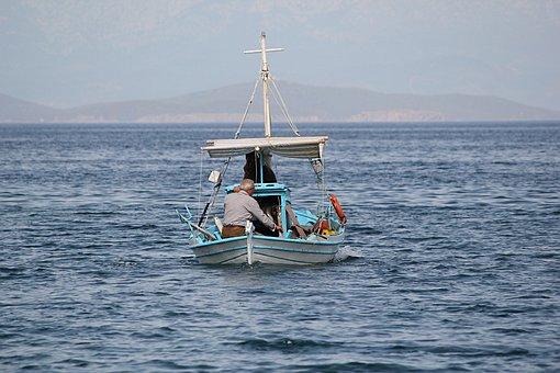 Boat, Fisherman, Fishing, Aegean, Mediterranean, Greece