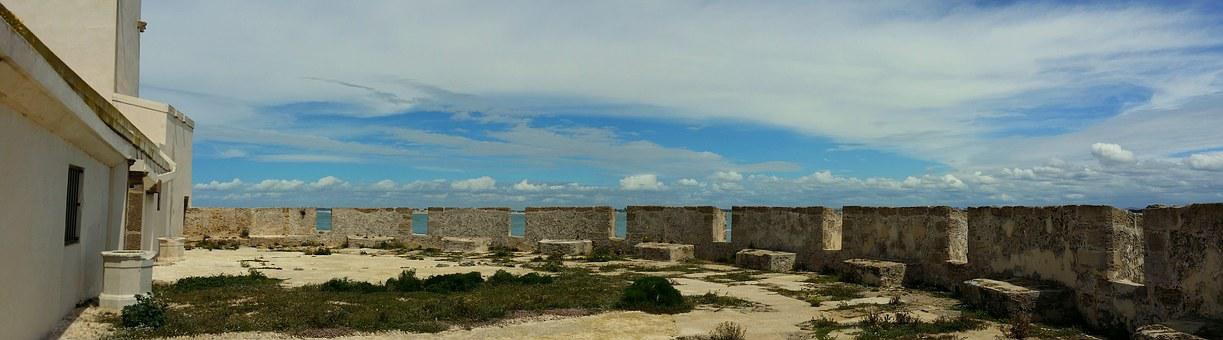 Panoramic, Sea, Blue, Sun, Islet Sancti Petri, Wall