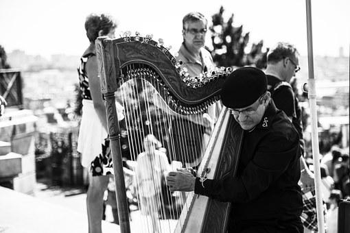Musician, France, Paris, Harp, Old, Sacred Heart