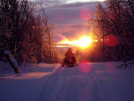 Sunset, Scooter, Snowmobile, Backlight