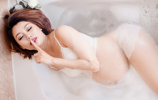 Pregnant, Woman, Silence, Bathtub, Water, Beauty
