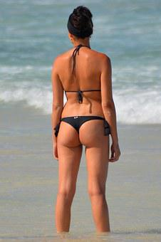 Woman, Buttocks, String, People, Bikini, Sexy, Sea